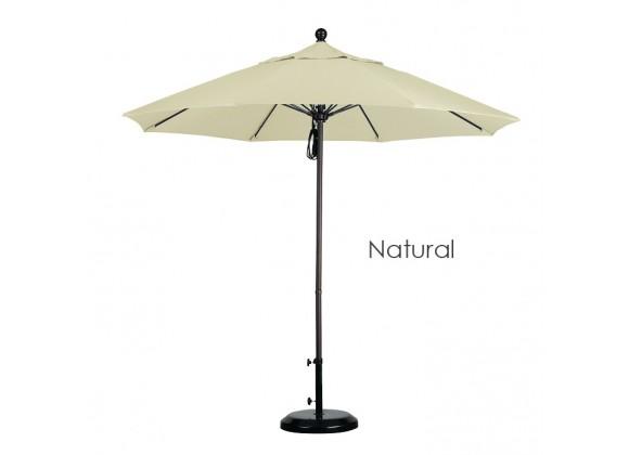 California Umbrella 9' Fiberglass Market Umbrella Pulley Open Bronze - Sunbrella