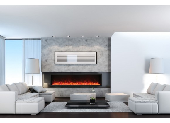88″ Wide – Deep Indoor Or Outdoor Electric Built-in Only With Black Steel Surround - Lifestyle