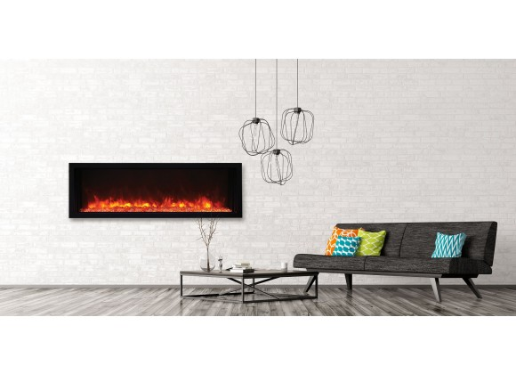50″ Extra Slim Indoor Or Outdoor Electric Built-in Only Electric Fireplace With Black Steel Surround - Lifestyle
