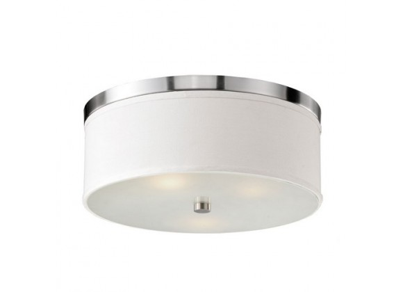 Bromi Braxton 20 Inch Round White and Nickel Flush Mount