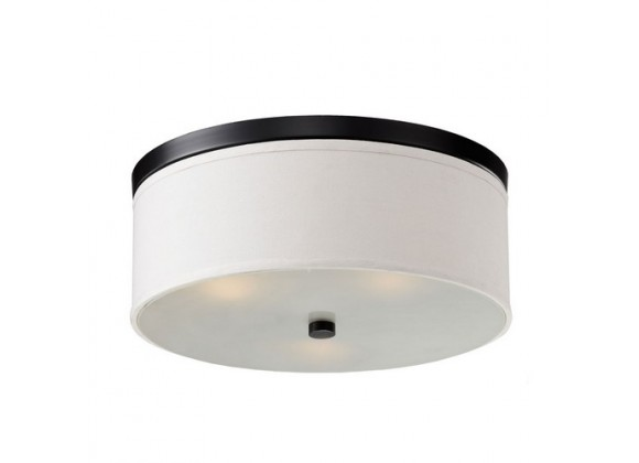 Bromi Braxton 20 Inch Round White and Black Flush Mount