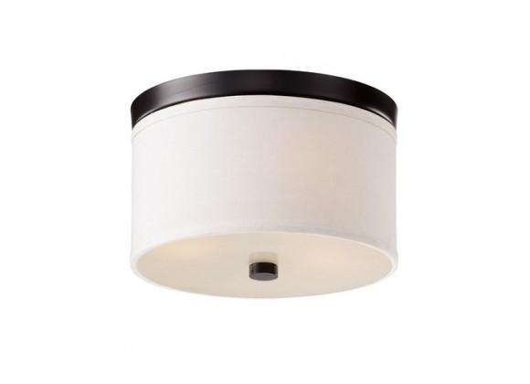 Bromi Braxton 10 Inch Round White and Black Flush Mount