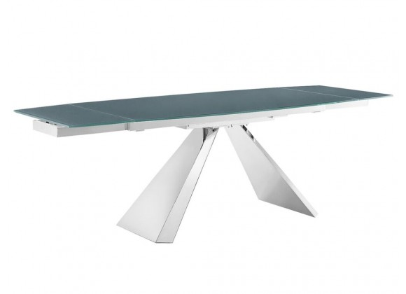 STANZA - MOTORIZED Extendable Stainless Steel / Gray Dining Table
