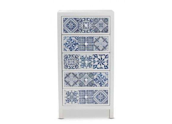 Baxton Studio Alma White Wood Blue Floral Tile 5 Drawers Accent Chest