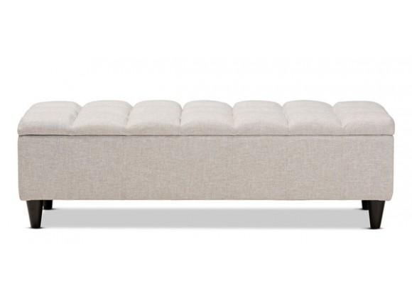 Baxton Studio Brette Beige Fabric Upholstered Storage Bench Ottoman