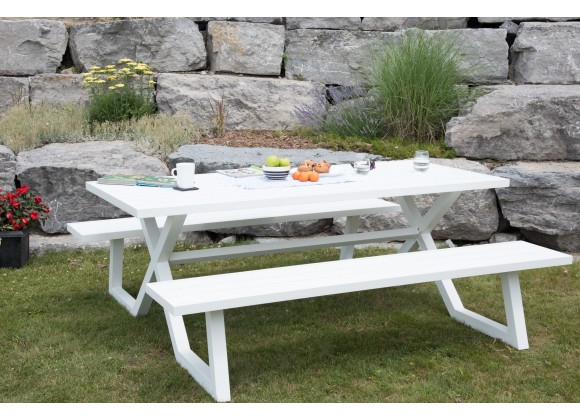 Vivere Banquet Deluxe 8-Seat Aluminum Picnic Table (White)