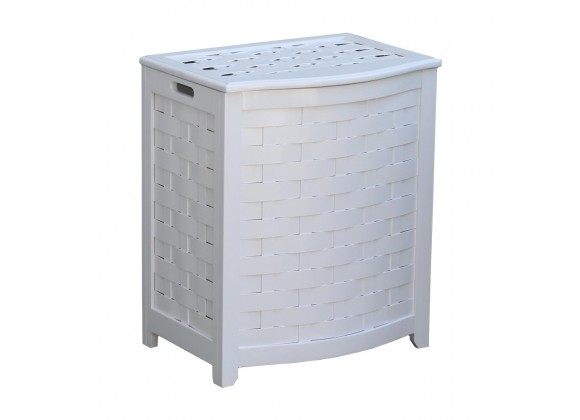 Oceanstar White Finished Bowed Front Veneer Laundry Wood Hamper with Interior Bag - Angled