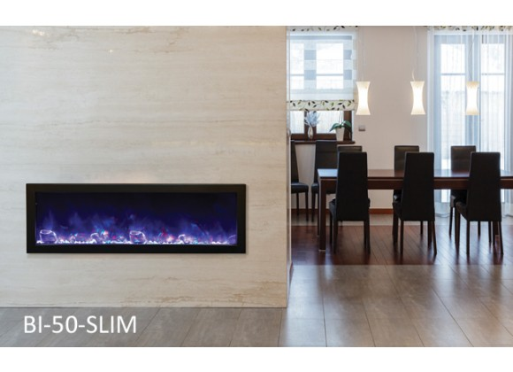 50″ Slim Electric Built-in w/ Black Steel Surround