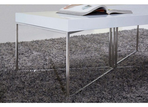White Mixer Coffee Table -Stainless Steel Legs