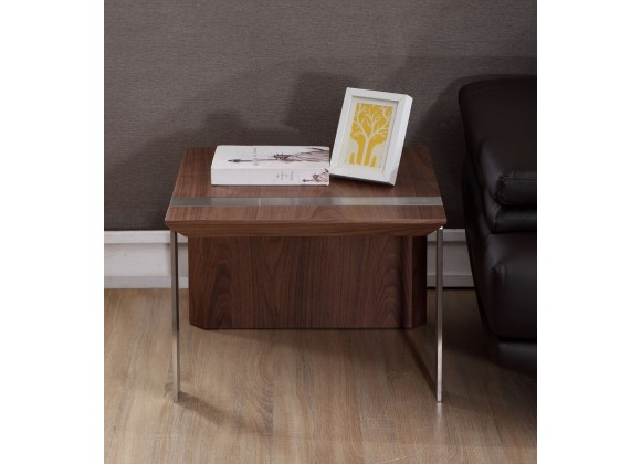 Director End Table - Light Walnut with Brushed Stainless Steel-2