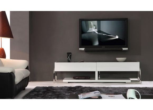 Agent TV Stand - Black Glass Top Front