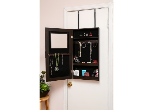 Modern Wall-Hanged Mirror Jewelry Cabinet Storage Armoire Esspresso - Opened