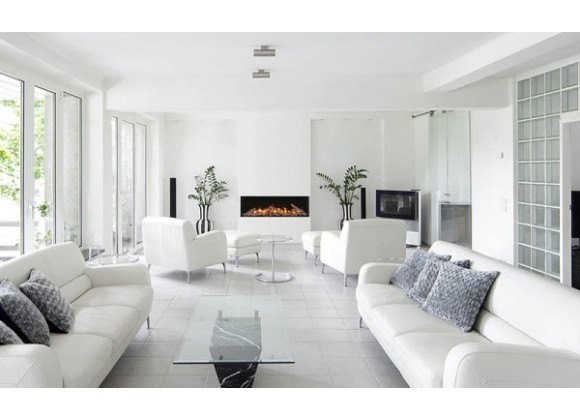 """Amantii 50"""" Unit - 10 5/8"""" In Depth 3 Sided Glass Fireplace - Lifestyle"""