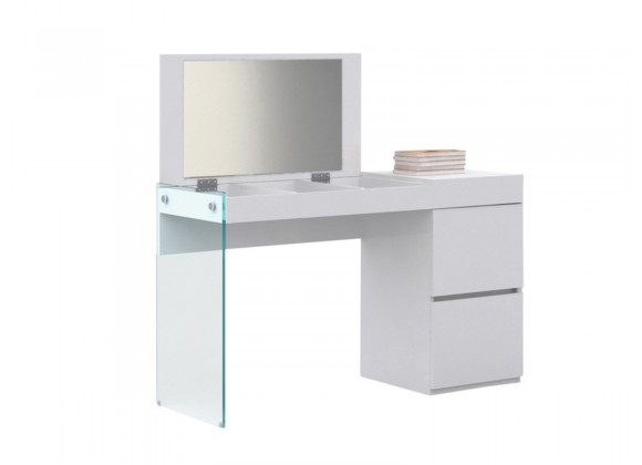 Casabianca IL VETRO Vanity In High Gloss White Lacquer And Mirror With Clear Glass