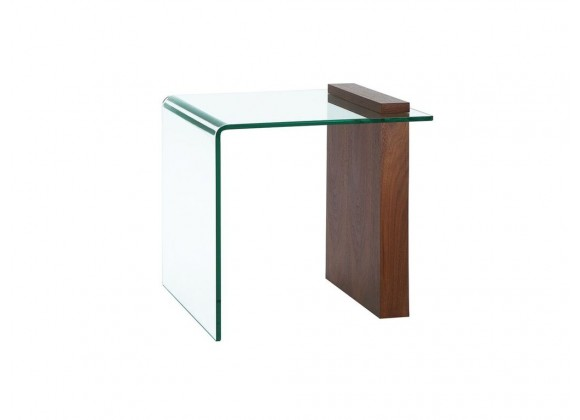 BUONO Walnut Veneer Glass End Table
