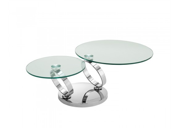 Satellite Coffee Table In High Polished Stainless Steel Base - Semi-angled