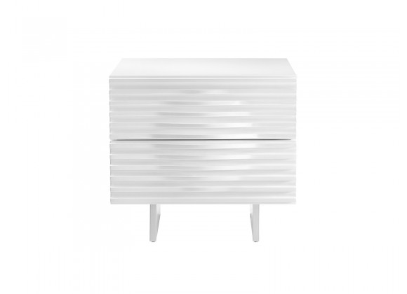 Moon Nightstand In High Gloss White Lacquer With Brushed Stainless Steel - Front