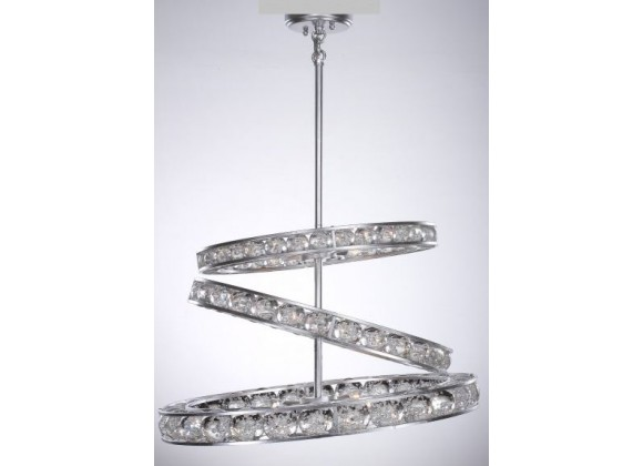 ZEEV Lighting Imbrium Chandelier - Silver Leaf With Seeded Crystal Spheres