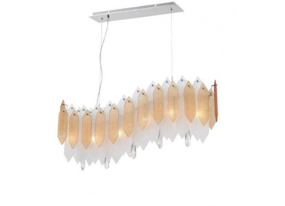 ZEEV Lighting Stratus Chandelier - Chrome With Amber & Frosted Glass