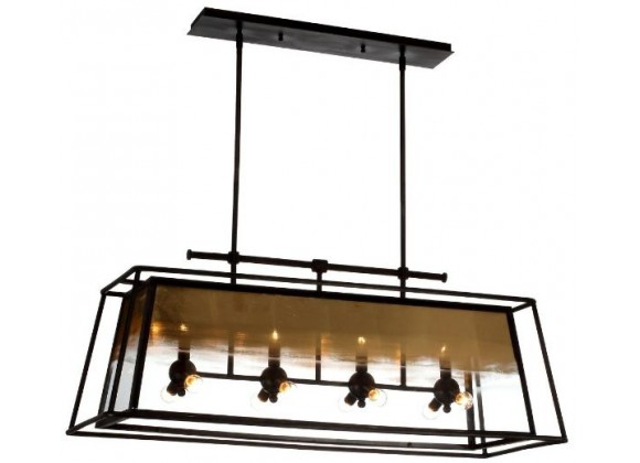 ZEEV Lighting Occasus Chandelier -  Rustic Iron With Gold Leafed Glass