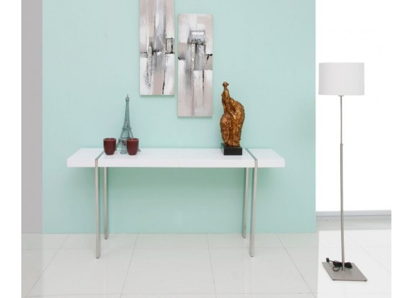Struttura Console High Gloss White With Polished Stainless Steel Legs