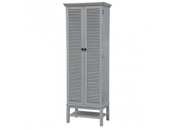 Magnolia Louvered 2 Door Tall White Storage Cabinet