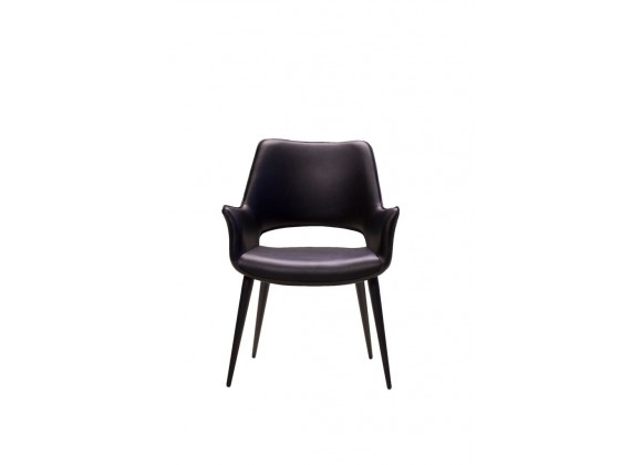 Stratford Arm Chair Black Leatherette with Black Metal Frame