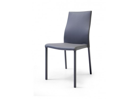 Ellie Dining Chair Gray Faux Leather Stackable