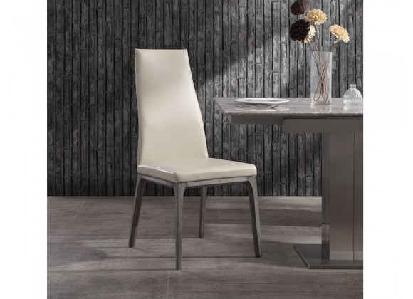 Whiteline Modern Living Ricky Dining Chair - Grey Oak / Taupe