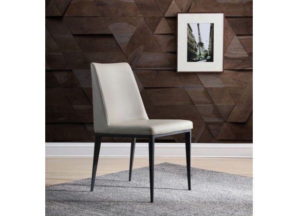 Carrie Dining Chair In Light Grey Faux Leather