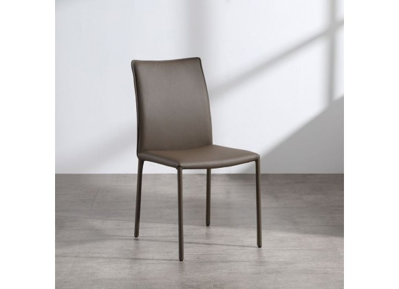 Candance Dining Chair In Taupe Leather