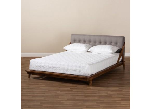 Baxton Studio Sante Upholstered Wood Platform Bed