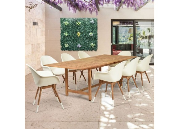 Amazonia Charlotte 9 Piece Teak Rectangular Patio Dining Set - Lifestyle