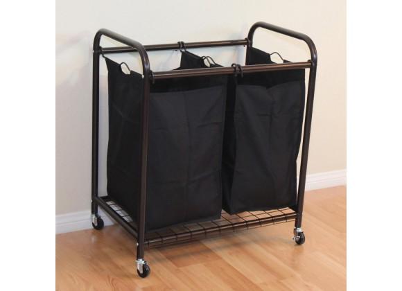Oceanstar 2-Bag Rolling Laundry Sorter - Bronze - Lifestyle