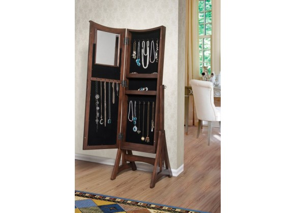 Bianca Jewelry Armoire Cheval Mirror - Open