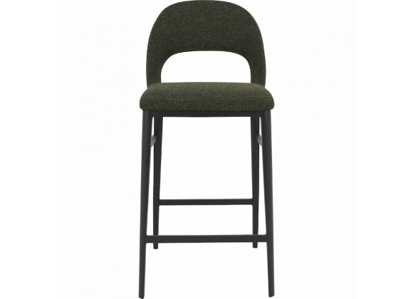 Moe's Home Collection Roger Counter Stool - Green Velvet - Front