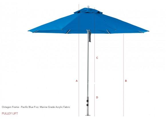 6 1/2' Square Four Panel Fiberglass Market Umbrella