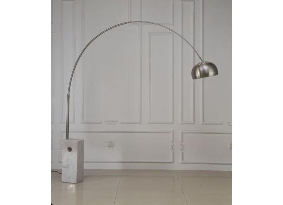 Wesley Floor Lamp Aluminum And White Marble Base - Lifestyle