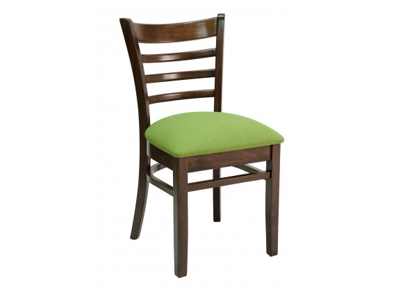 European Beechwood Wood Dining Chair - FLS-05S - Front with Green Cushion