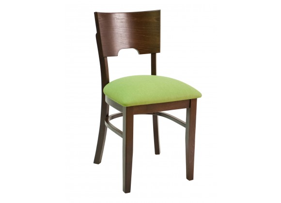 European Beechwood Wood Dining Chair - FLS-11S - With Green Cushion