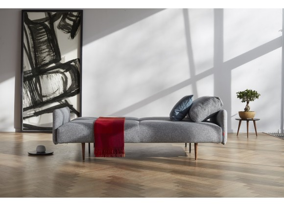 Innovation Living Frode Sofa In Twist Granite Upholstered Arms and Dark Wood Legs- Folded Lifestyle