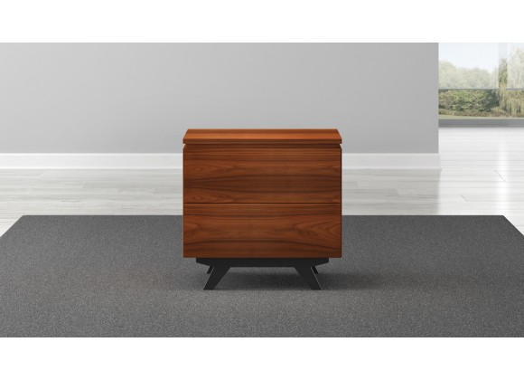 "Furnitech Signature Home 24"" Mid-Century Modern End Table in Iron Wood -Closed"