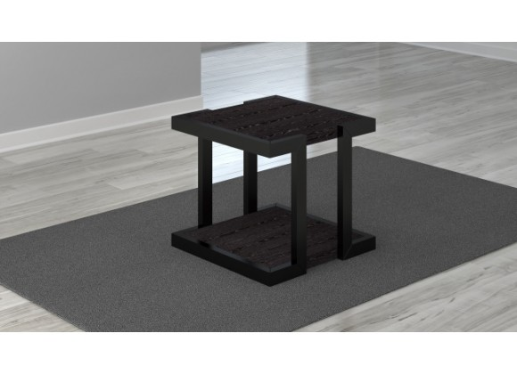 "Furnitech 24"" Art Deco End Table with Italian engineered Veneers and High Gloss Black Lacquer Solid wood Frame"