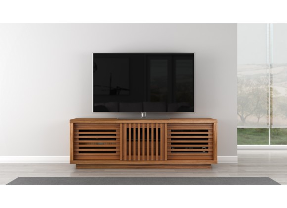 "Furnitech Signature 64"" Contemporary Rustic TV Stand Media Console in American White Oak with an Warm Honey Finish"