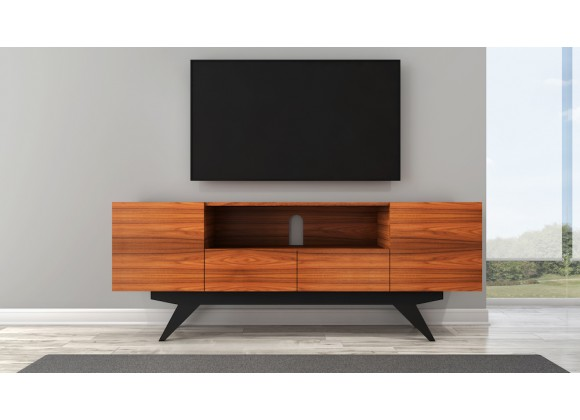 Furnitech Signature Mid-Century Modern TV Console In Wood