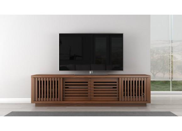 "Furnitech 82"" 82"" Rustic Contemporary TV Stand Media Console Natural Walnut Finish - Front"