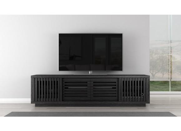 """Furnitech 82"""" Contemporary Rustic TV Stand Media Console in Ebony American White Oak"""