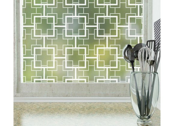 Odhams Press Peggy Frosted Non-Adhesive Decorative Window Film - Privacy Cling Film