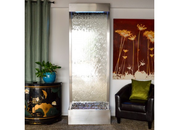 Towering 8' Stainless Steel Gardenfall with Silver Mirror - Front