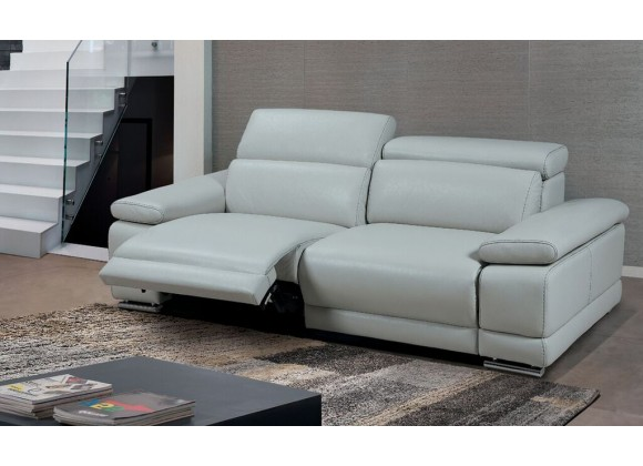 Grace Electric Motion Sofa With Manual Adjustable Neck Rest Cushions In Light Gray - Lifestyle